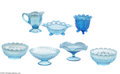 Art Glass:Other , A COLLECTION OF AMERICAN OPALESCENT BLUE GLASS ITEMS... (7 Items)