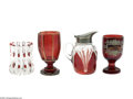Art Glass:Other , A GROUP OF RUBY GLASS ITEMS... (4 Items)