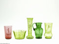 Art Glass:Other , FIVE 'MARY GREGORY' ITEMS... (5 Items)