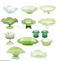 Art Glass:Other , A COLLECTION OF AMERICAN GREEN GLASS ITEMS... (13 Items)