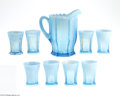 Art Glass:Other , A SET OF 'DRAPE' OPALESCENT GLASS TUMBLERS AND A PITCHER... (9Items)