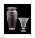 Art Glass:Other , TWO ETCHED GLASS VASES... (2 Items)