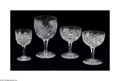 Art Glass:Other , FOUR AMERICAN BRILLIANT CUT GLASS GOBLETS... (4 Items)