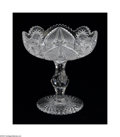 Art Glass:Other , AN AMERICAN BRILLIANT CUT GLASS COMPOTE...
