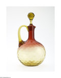 Art Glass:Other , AN AMERICAN THUMBPRINT PATTERN AMBERINA GLASS DECANTER...