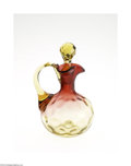 Art Glass:Other , AN AMERICAN THUMBPRINT PATTERN AMBERINA GLASS CRUET...
