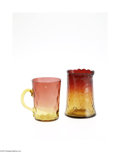 Art Glass:Other , TWO PIECES OF AMERICAN AMBERINA GLASS... (2 Items)