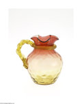 Art Glass:Other , AN AMERICAN THUMBPRINT PATTERN AMBERINA GLASS PITCHER...