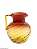 Art Glass:Other , AN AMERICAN SWIRL PATTERN AMBERINA GLASS PITCHER...