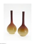 Art Glass:Other , A PAIR OF AMERICAN WHEELING 'PEACH BLOW' GLASS VASES... (2 Items)
