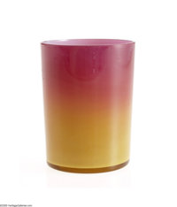 AN AMERICAN WHEELING PEACH BLOW GLASS TUMBLER New England Glass Co., c.1890  The cased cylindrical form in deep custard...