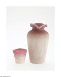 Art Glass:Other , AN AMERICAN 'WILD ROSE' GLASS TOOTHPICK AND SATIN GLASS VASE... (2Items)