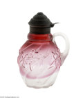 Art Glass:Other , AN AMERICAN ROYAL IVY RUBINA PATTERN GLASS SYRUP PITCHER...