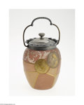Art Glass:Other , AN AMERICAN 'ROYAL FLEMISH' LIDDED GLASS CRACKER JAR...