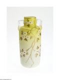 Art Glass:Other , AN ENAMELED SATIN GLASS VASE...