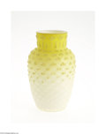 Art Glass:Other , A DIAMOND QUILT PATTERN CORALENE SATIN GLASS VASE...