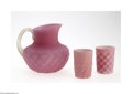 Art Glass:Other , A DIAMOND QUILT PATTERN SATIN GLASS PITCHER AND TWO TUMBLERS... (3Items)