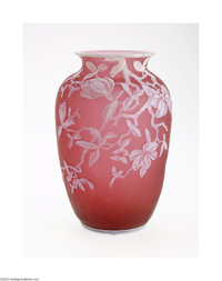 AN ENGLISH OVERLAID AND ETCHED GLASS VASE Thomas Webb & Sons, c.1890  The frosted cranberry ground overlaid in ivory...