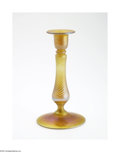 Art Glass:Other , AN AMERICAN ART GLASS CANDLESTICK HOLDER...