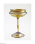 Art Glass:Tiffany , AN AMERICAN IRIDESCENT FAVRILE GLASS COMPOTE...