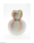 Art Glass:Other , A DIAMOND QUILT PATTERN MOTHER-OF-PEARL SATIN GLASS VASE...
