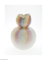 A DIAMOND QUILT PATTERN MOTHER-OF-PEARL SATIN GLASS VASE Maker unknown, c.1890  The double gourd form with scalloped rim...