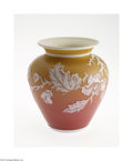 Art Glass:Other , AN ENGLISH OVERLAID AND ETCHED PEACH BLOW GLASS VASE...