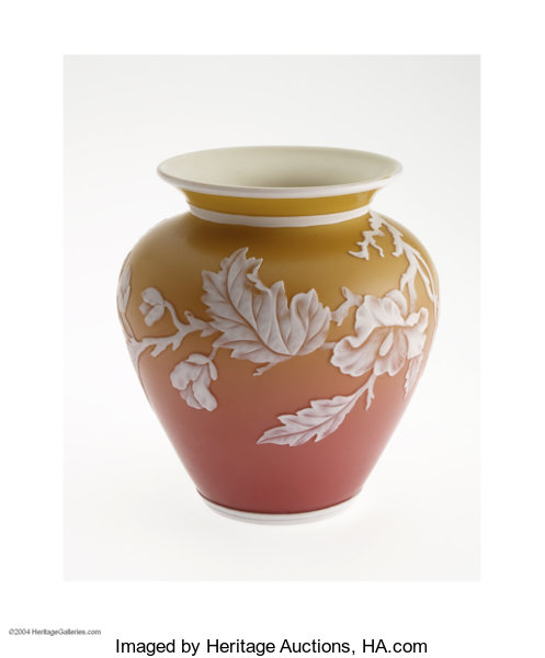 An English Overlaid And Etched Peach Blow Glass Vase Art Glass