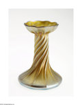 Art Glass:Tiffany , AN AMERICAN ART GLASS CANDLESTICK...