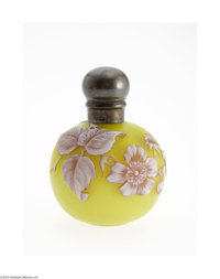 AN ENGLISH OVERLAID, ETCHED AND SILVER MOUNTED GLASS PERFUME BOTTLE The Glass: Thomas Webb & Sons, c.1890  The globu...