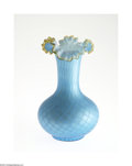 Glass, A SATIN GLASS VASE. Maker unknown, c.1890. The blue diamond quilted mother-of-pearl with a bulbous base rising to a cylind...