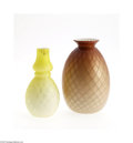 Art Glass:Other , TWO AMERICAN DIAMOND QUILT PATTERN MOTHER-OF-PEARL VASES... (2Items)