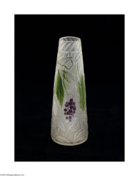 AN AMERICAN FAVRILE GLASS VASE Tiffany & Co., c.1908  The tapering cylindrical form frosted and etched with grapes a...