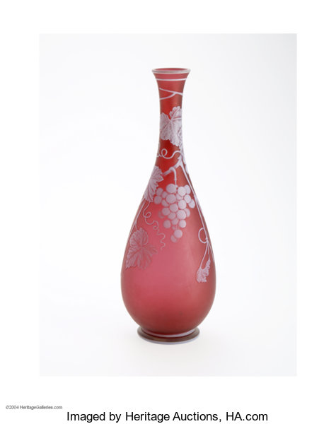AN ENGLISH OVERLAID AND ETCHED GLASS VASE... Art Glass Webb ...