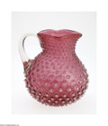 Art Glass:Other , AN AMERICAN OPALESCENT HOBNAIL GLASS PITCHER...