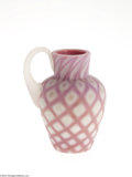 Art Glass:Other , AN AMERICAN DIAMOND QUILT PATTERN CASED SATIN GLASS JUG...