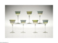 Art Glass:Tiffany , A SET OF SEVEN AMERICAN IRIDESCENT FAVRILE GLASS GOBLETS... (7Items)