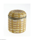 Glass, AN AMERICAN 'DRAPE PATTERN' HINGED GLASS BOX. Northwood, c.1900. Of cylindrical form in ivory, pink and yellow drape patte...