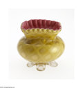 Art Glass:Other , A DIAMOND QUILT PATTERN SATIN GLASS BOWL...