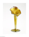 Art Glass:Tiffany , AN AMERICAN JACK-IN-THE-PULPIT GOLD AURENE GLASS VASE...