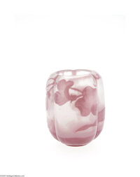 A FRENCH OVERLAID AND ETCHED GLASS CABINET VASE Emile Gallé, c.1900  The tri-lobed barrel form with frosted groun...