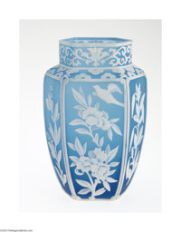 AN ENGLISH OVERLAID AND ETCHED GLASS VASE attributed to Woodall for Thomas Webb & Sons, c.1885  The six-paneled form...