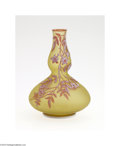 Glass, AN ENGLISH OVERLAID AND ETCHED GLASS VASE. Thomas Webb & Sons, c.1890. The double gourd form with frosted yellow ground do...