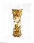 Glass, A FRENCH OVERLAID AND ETCHED GLASS VASE. Daum Nancy, c.1900. The cylindrical form with opalescent ground overlaid with mot...