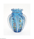 Art Glass:Other , AN AMERICAN ENAMELED AND APPLIQUE GLASS VASE...