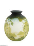 Art Glass:Muller, A FRENCH TRIPLE OVERLAID AND ETCHED GLASS VASE...