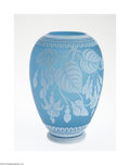 Glass, AN ENGLISH OVERLAID AND ETCHED GEM CAMEO GLASS VASE. Thomas Webb & Sons, retailed by Tiffany & Co., c.1889. The footed ovo...