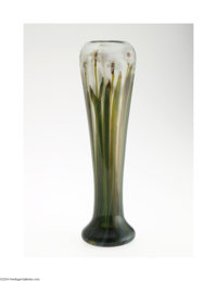 AN AMERICAN FAVRILE PAPERWEIGHT GLASS VASE Tiffany & Co., c.1917  The cushion foot rising to a slender tapering ovoi...