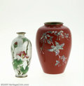 Decorative Arts, Continental:Other , AN ASIAN CLOISONNE VASE AND AN ENAMEL VASE... (2 Items)