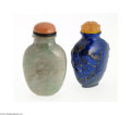 Decorative Arts, Continental:Other , TWO ASIAN STONE SNUFF BOTTLES... (2 Items)